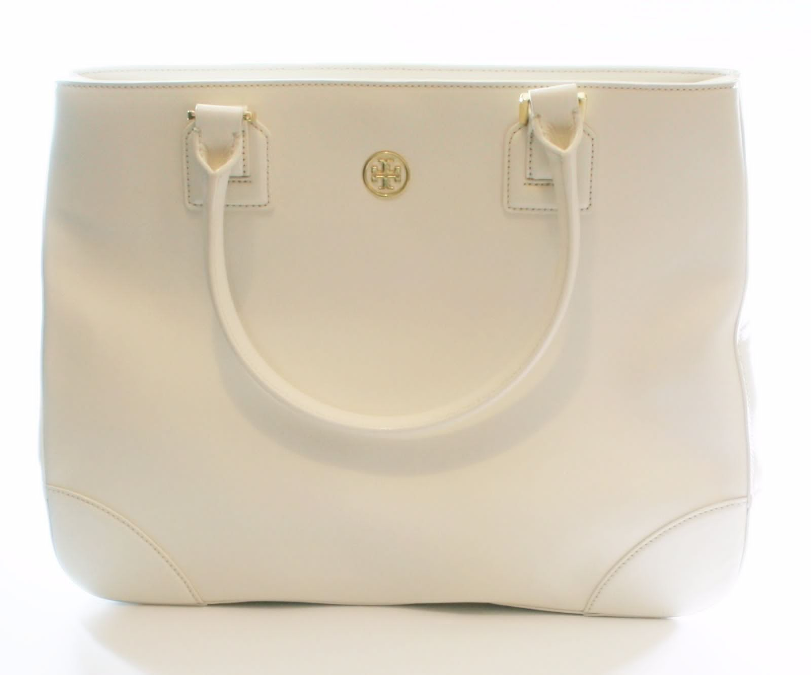 Primary image for Tory Burch Robinson Ivory Cream Tote Bag Saffiano Leather Large Handbag RRP£495