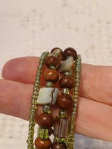 Vtg Artisan Island Beach Green Wood Abalone Seashell Spring Beaded Cuff Bracelet - $7.91
