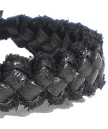 THICK BLACK REAL LEATHER HAND MADE FRIENDSHIP BRACELET WRISTBAND TIE ADJ... - $6.93