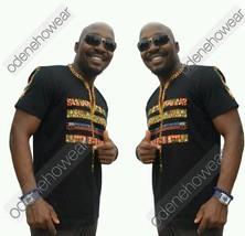 Odeneho Wear Men's Black Polished Cotton Top/African Print Design.African Clothi - $71.28