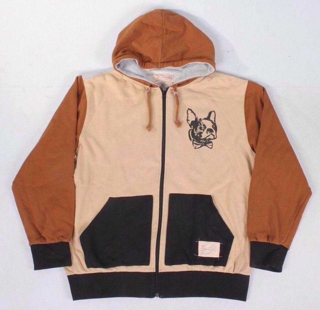 Hawke & Dumar Mens Bone Brown Wildlife Hooded Sweater Hoody French Bulldog NWT