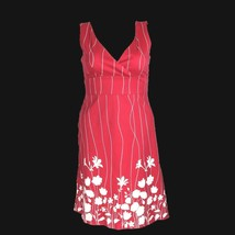 Spense Dress 12 Red White Stripe Silhouette Flower Empire A Line Rockabilly L image 2