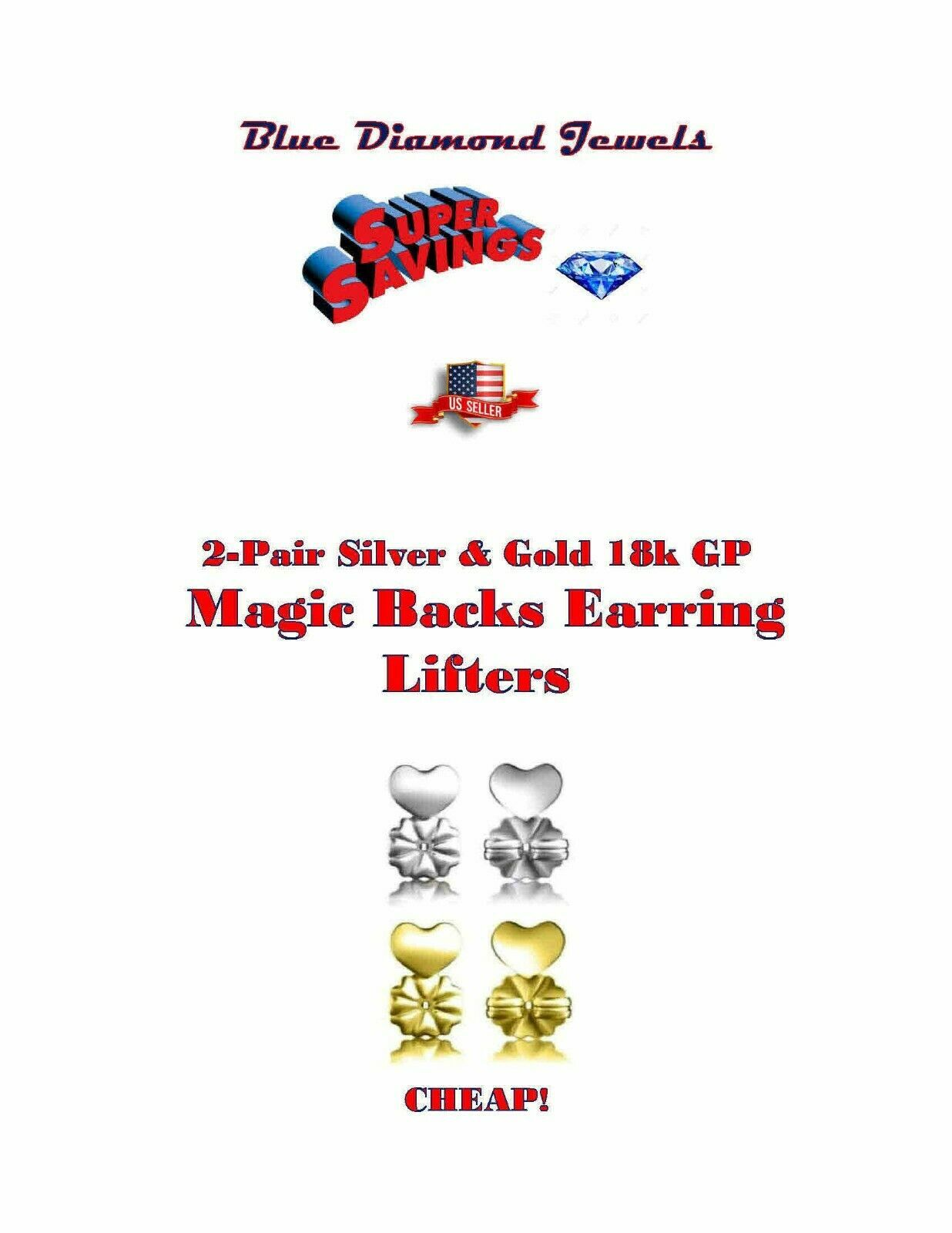 Primary image for 2pr Magic Backs Earring Lifters Silver/Gold Enlarged Torn Pierced Ears US SELLER