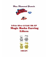 2pr Magic Backs Earring Lifters Silver/Gold Enlarged Torn Pierced Ears U... - $9.95