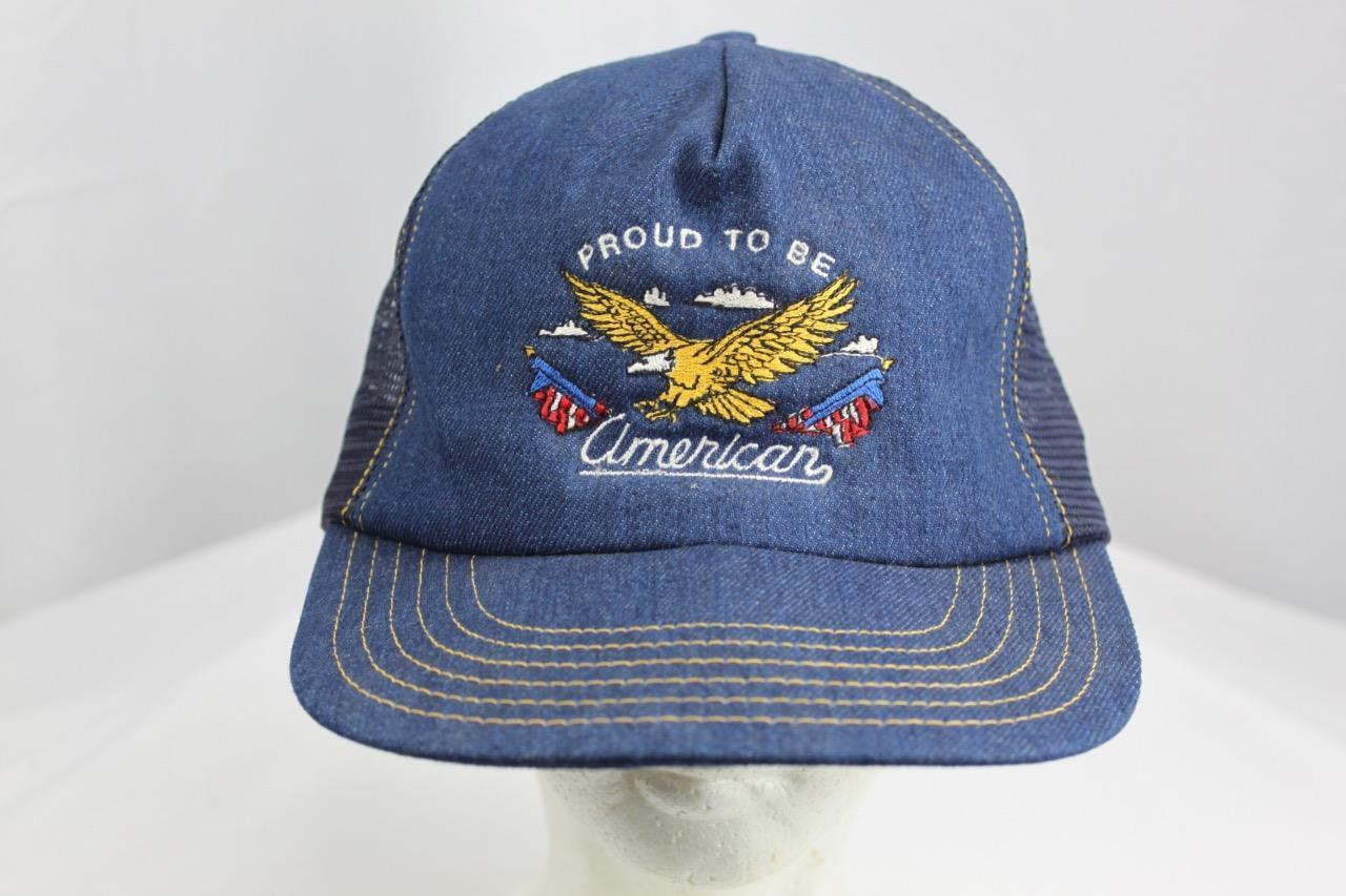 Proud To Be American Embroidered Snapback Jean Mesh Trucker Hat Made in USA
