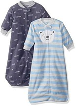 Carter's Baby Boys 2-Pack Microfleece Sleepbag, Blue Bear Script, Small - $52.02