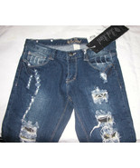 Red Rivet Stretch Skinny Destroyed Low Rise Jeans Sz 7 Juniors - $16.53