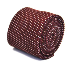 Frederick Thomas maroon spotted 100% cotton linen mens tie FT2167 RRP £1... - $18.37