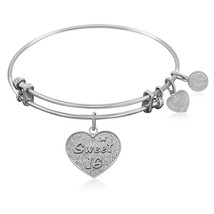 Expandable Bangle in White Tone Brass with Sweet 16 Symbol - $22.03