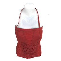 Bebe Women's Red Bustier Sleeveless Top Gathered Front Strap Size Medium - $15.65