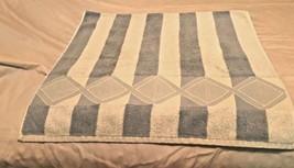 Two Atelier Martex Bath Towels Blue/LT Beige Stripe 100% Cotton EUC - $19.79