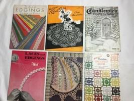 Lot of 6 Vintage Crochet Pattern Book Doilies Edging Laces  Puritan Amer... - $14.01
