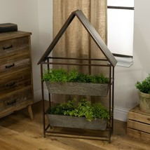 Metal Planter with Roof and 2 Rectangular Pots Free Standing House Shape... - $189.95