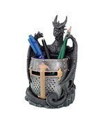 Dragon Statue with Warrior Helmet Desktop Utility Stationery Pencil Hold... - £23.28 GBP
