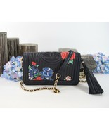 Tory Burch Fleming Navy Quilted Floral Leather Chain Crossbody Bag NWT - $281.66
