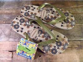 HAVAIANAS Flip Flop Shoes Sandals FLORAL Design Sand NEW Size USA 4/5 Eu... - $19.79
