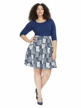 Gilli Navy And White Twofer Fit And Flare Dress Stretch 1X ? 3/4 Sleeve ... - $12.49