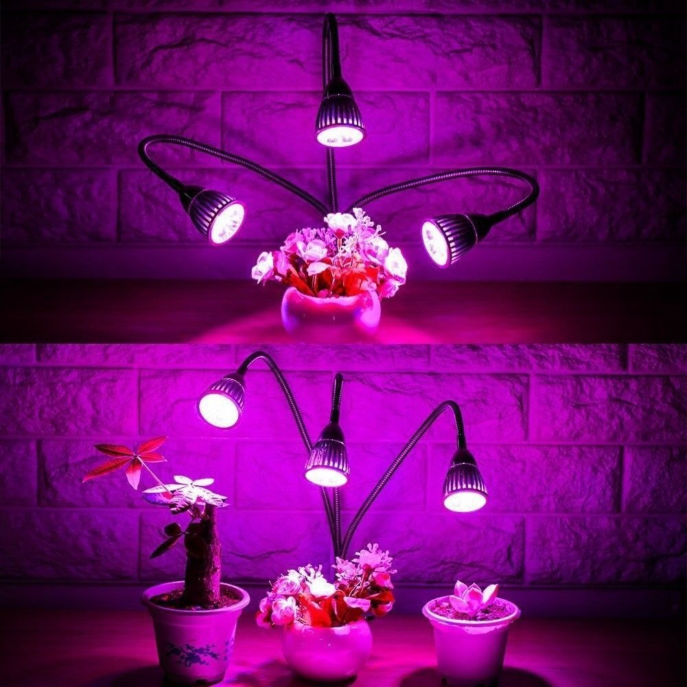 LED Plant Grow Light Three-Head 15W Clip Desk Grow Lamp With 360 Degree And For