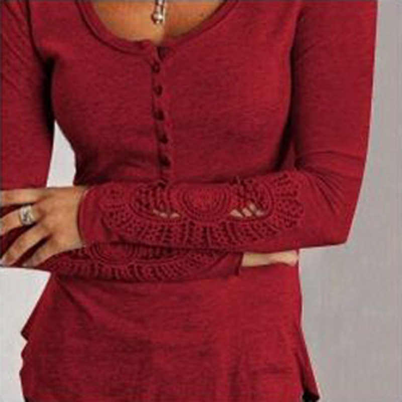 And 2018 autumn tops women blouses lace crochet embroidery sleeve hollow casual shirts plus size