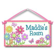 """Kids Door Sign, Daisy Flowers, 5.5"""" x 10.5"""", Personalized Bedroom Plaque - $13.00"""