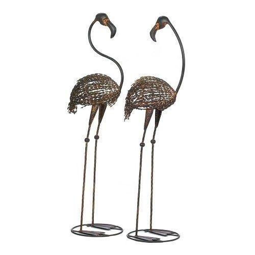 Outdoor Flamingo Lawn Ornament Pair 2 Cast Iron Garden Stakes Metal Birds Two