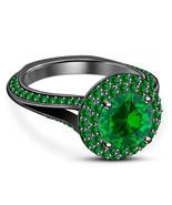 Green Sapphire Womens Wedding Engagement Ring Black Finish 925 Sterling ... - £57.85 GBP