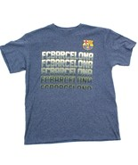 FCB Barcelona Soccer T-Shirt L Short Sleeve Mens Futtball Blue Heather L... - $17.83
