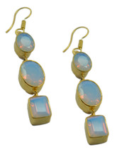 Yellow Gold Plated Fashion bewitching Fire Opal CZ supplies Earring AU gift - $17.61
