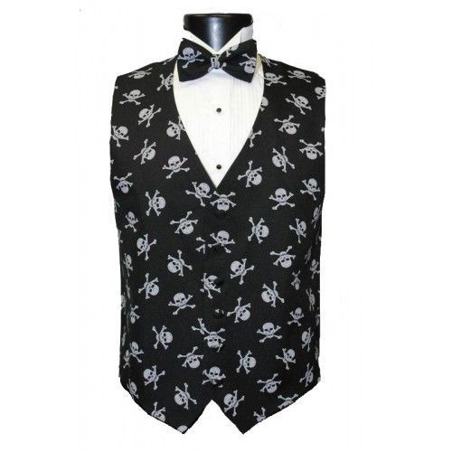 Skull and Bones Tuxedo Vest and Bowtie