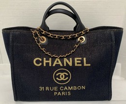 Chanel Deauville Canvas Navy Shimmer Large Shopper Tote Bag New 2019 - $4,998.00