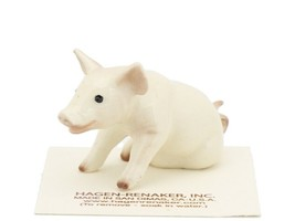 Hagen Renaker Miniature Farm Pig Sitting White Ceramic Figurine