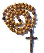 Holy Big Mix Beads sanctified Rosario Natural Wood Chain Jesus Cross XL ... - $29.89
