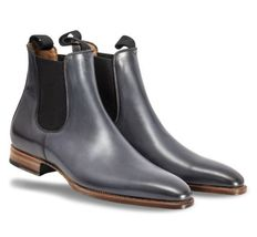 Men Grey Chelsea Genuine Leather Formal Shoes Jumper Slip On Matching Bl... - $169.99+