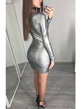 Silver Wrap Style Long Sleeve Dress - Shimmering Fabric / Mini Cut image 4