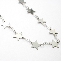18K WHITE GOLD NECKLACE, FLAT STARS, STAR, 16.5 INCHES, MADE IN ITALY image 2