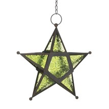 Green Glass Star Lantern Candle Holder - $8.32