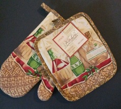 OLIVES DESIGN OVEN MITT SET 2pc Potholder + Mitt Olive Oil Wine Yellow NEW - $7.99
