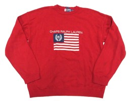 CHAPS by Ralph Lauren Red Men's Knit Sweater Adult Size X-Large 100% Cotton - $49.45