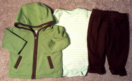 Girl's or Boy's Size 0-3 M Months 3 Pc Green Jacket, Top & Pants Carter'... - $15.00