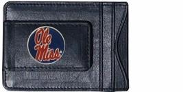 ole miss rebels blue circle logo ncaa college emblem leather cash & cardholder - $27.07