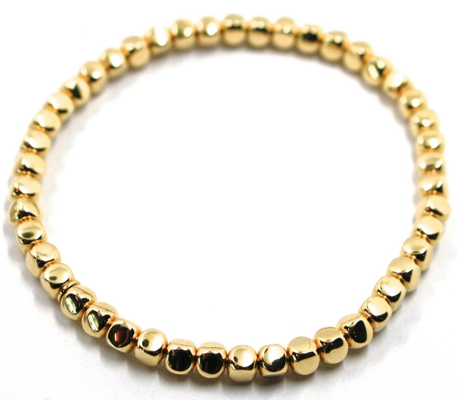 "SOLID 18K YELLOW GOLD ELASTIC BRACELET, CUBES DIAMETER 4 MM 0.16"", MADE IN ITALY"