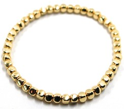 "SOLID 18K YELLOW GOLD ELASTIC BRACELET, CUBES DIAMETER 4 MM 0.16"", MADE IN ITALY image 1"