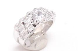 Wedding Bridal Ring Set Engagement  Stainless Steel Rhodium 1.25 Ct CZ S... - $17.81