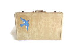 Vintage Samsonite White Marbled Hardside Suitcase Luggage Bluebird Shabb... - $68.31