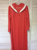 Vintage VANITY FAIR Button Front Coral Housecoat Robe White Trim Collar - $18.70