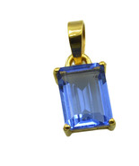 resplendent Blue Shappire CZ Gold Plated Blue Pendant Natural jaipur US ... - $9.89