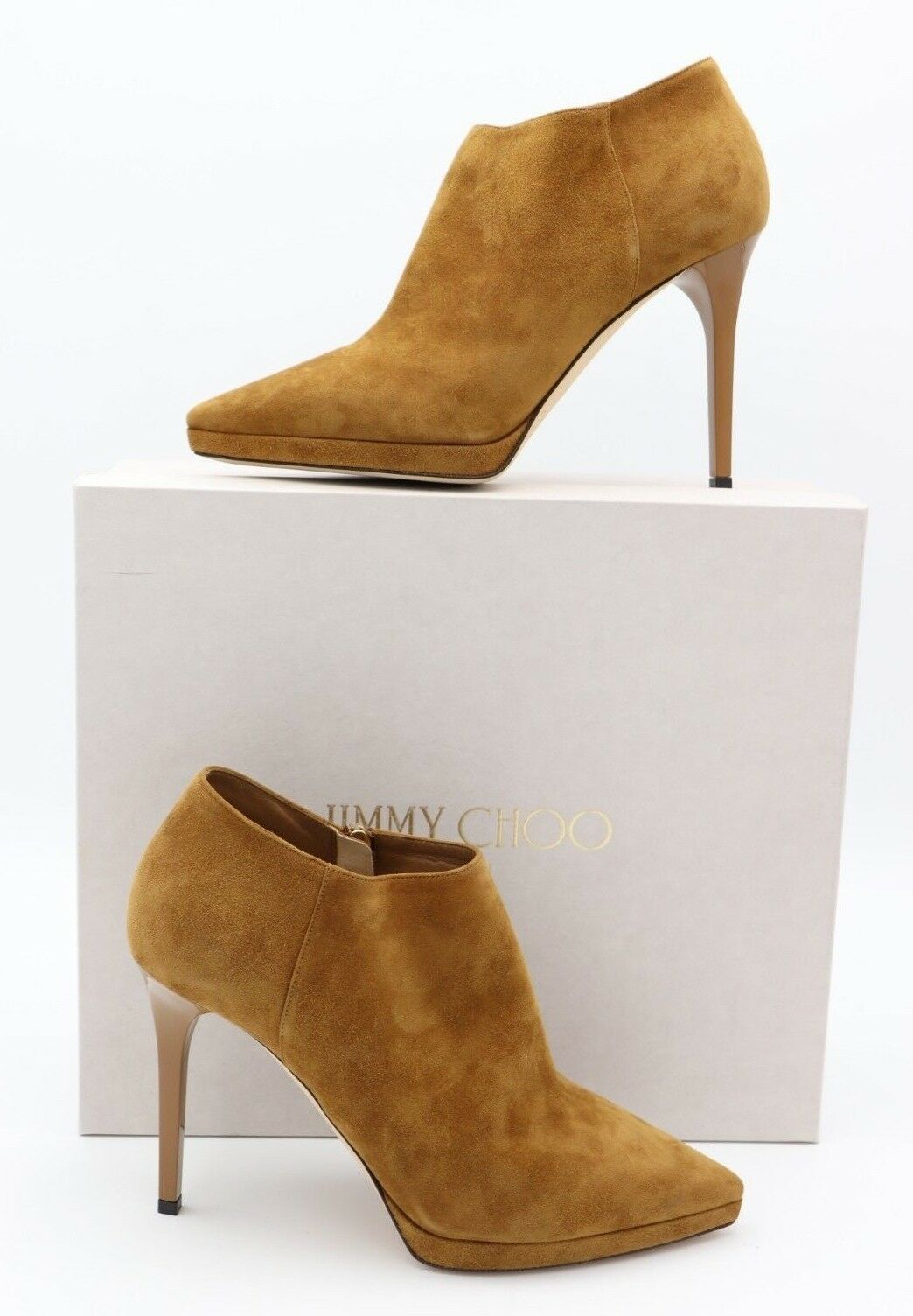 Jimmy Choo Lindsey 100 Brown Suede Platform Point-Toe Shoe Ankle Booties 10 40 - $475.00