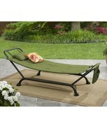 Outdoor Hammock with Stand Green Steel Frame Patio Garden Sleeping Furni... - £68.42 GBP