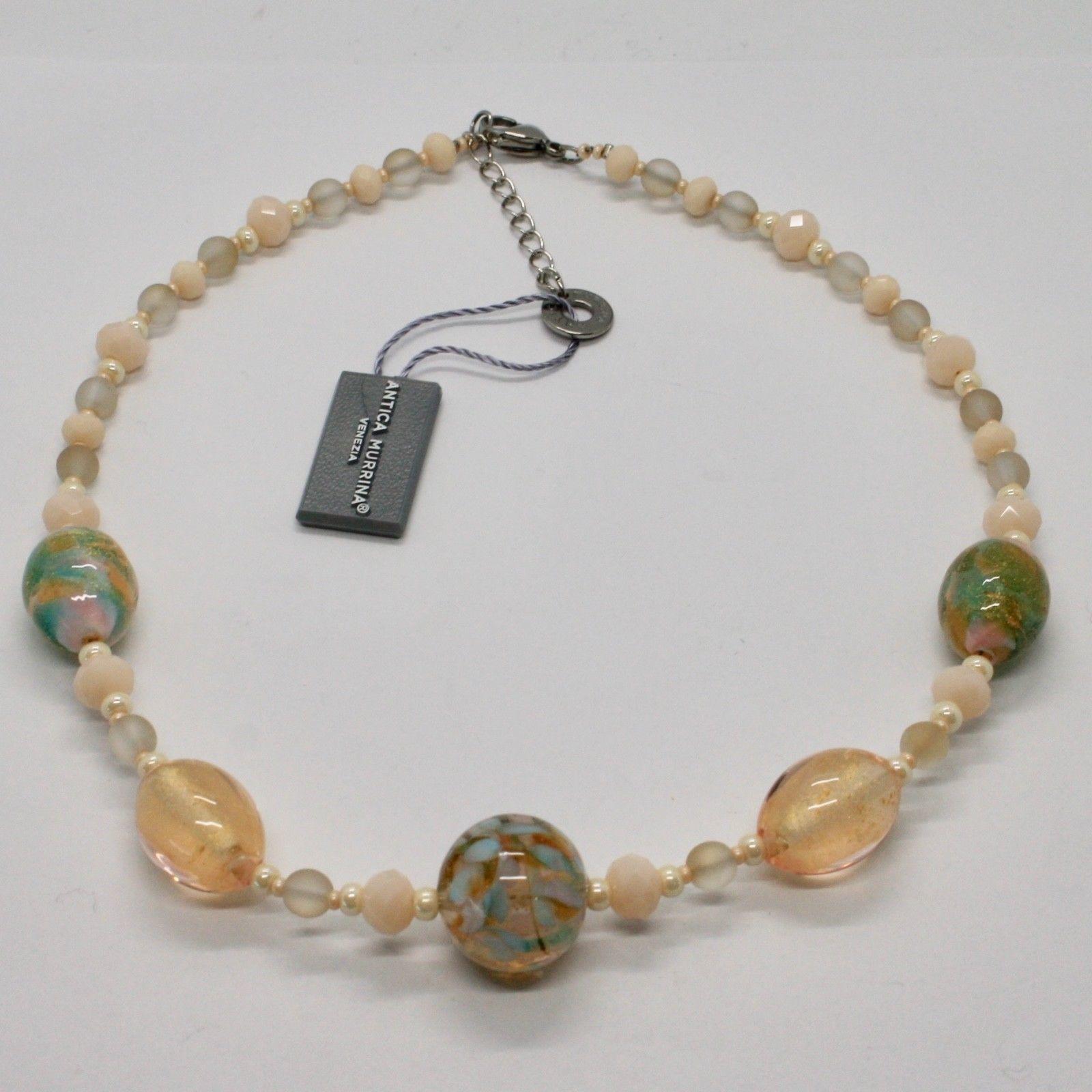 ANTICA MURRINA VENEZIA NECKLACE WITH MURANO GLASS YELLOW GOLD BEIGE COA78A03