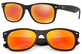 New RAY-BAN New Wayfarer RB 2132 622/69 Matte Black  w/Orange Flash 52mm - $123.43